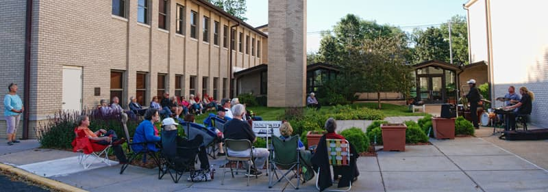 Jorge Nila and the Jazz Ninjas perform at the Pacific Hills Lutheran Church Courtyard