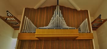 The organ pipes at Pacific Hills Lutheran Church in Omaha, Nebraska